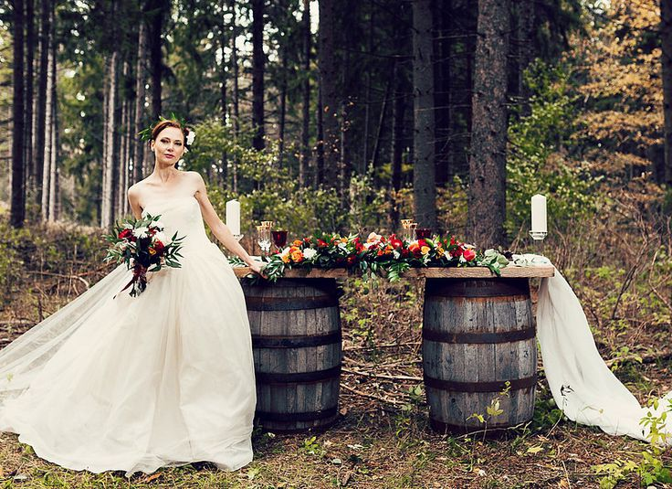 A Pinterest worthy wedding by Little Wee Prop Shop.  You've got to see their full rental inventory.  Located in Collingwood Ontario.  Photo: Motion D Photography #Vintageprops #VintageRentals #WineBarrels #SweetTable