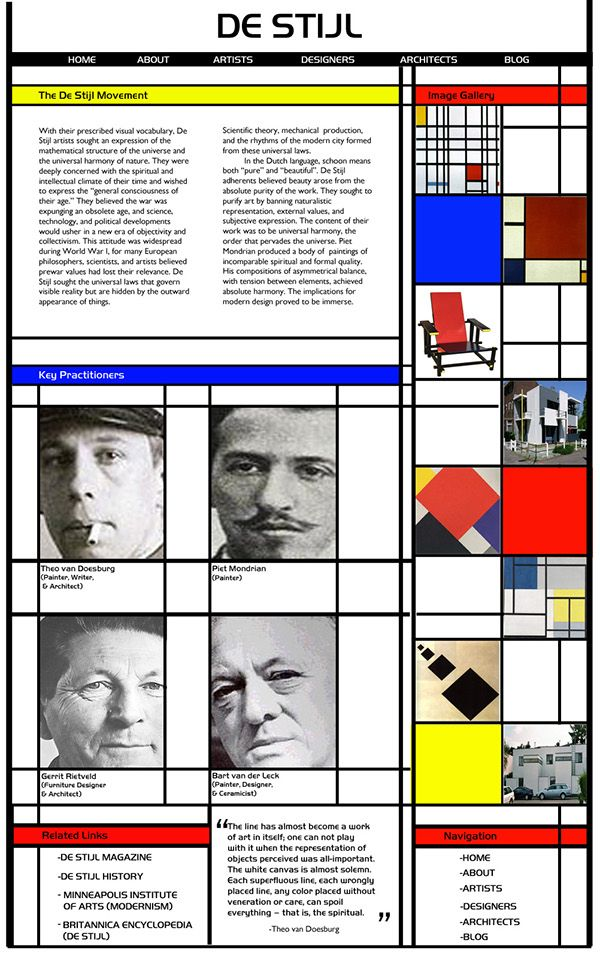 A microsite designed/developed for the De Stijl Movement for a web design class.