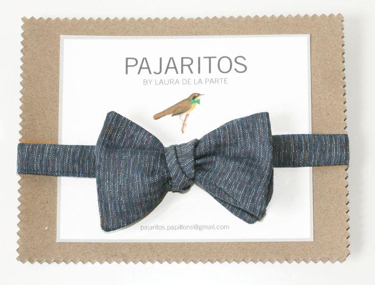 Japanese grey bow tie w Pajaritas na DaWanda.com