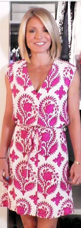 Who made Kelly Ripas pink and white print dress?