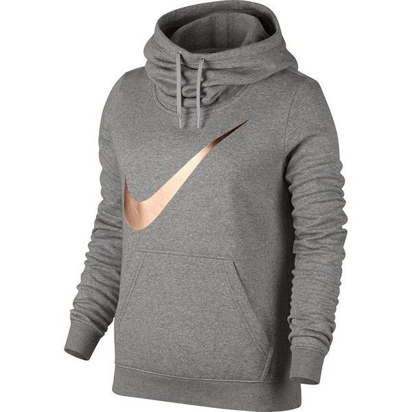 Women's Nike Sportswear Funnel Neck Hoodie ($55) ❤ liked on Polyvore featuring tops, hoodies, grey other, long sleeve tops, sweatshirt hoodies, graphic hoodies, cowl neck hoodie and gray hooded sweatshirt