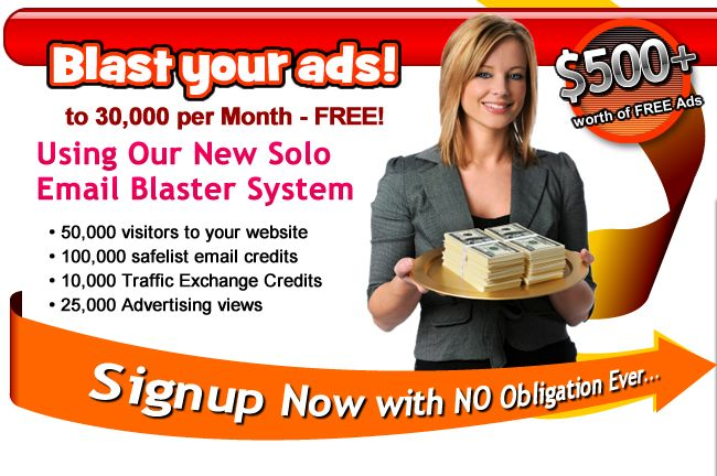 Worldprofit's Solo Email Blaster - Earn Income Online Working From Home  1. 20% commission on Membership referrals 2. 80 % commission on Reseller Products 3. 100% on PLR Products 4. Sales Volume Bonuses up to $1,000!