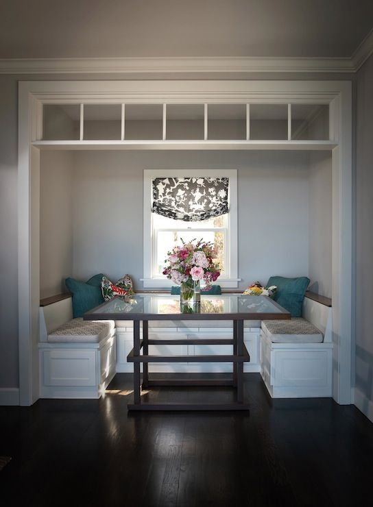 Andrea May Hunter Gatherer: Neat breakfast nook with U-shaped banquette seating! Dark oak hardwood floors and pale ...