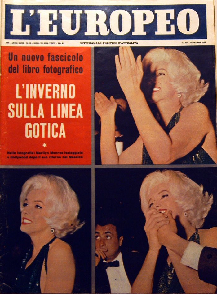 Marilyn at the Golden Globe Awards, 5 March 1962. L'Europea cover, 26 March 1962.