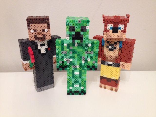 3D Minecraft Team Lads (Achievement Hunter's Ray, Gavin, and Michael) perler beads by RetroNinNin on deviantART