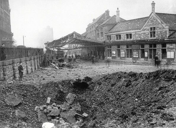Damage at Millbay Station, Plymouth, England during the ...