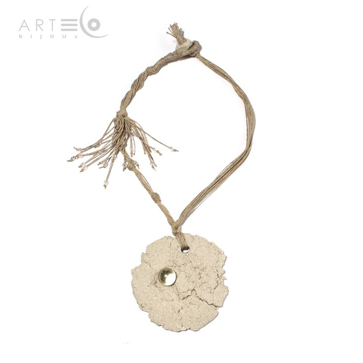 Necklace-medallion realized with white sand, glass pearls and marble, rope thread. The fastening is made with a little white sandy element. Buy it on ArtEco's Etsy shop! https://www.etsy.com/listing/189505973/necklace-medallion-realized-with-white