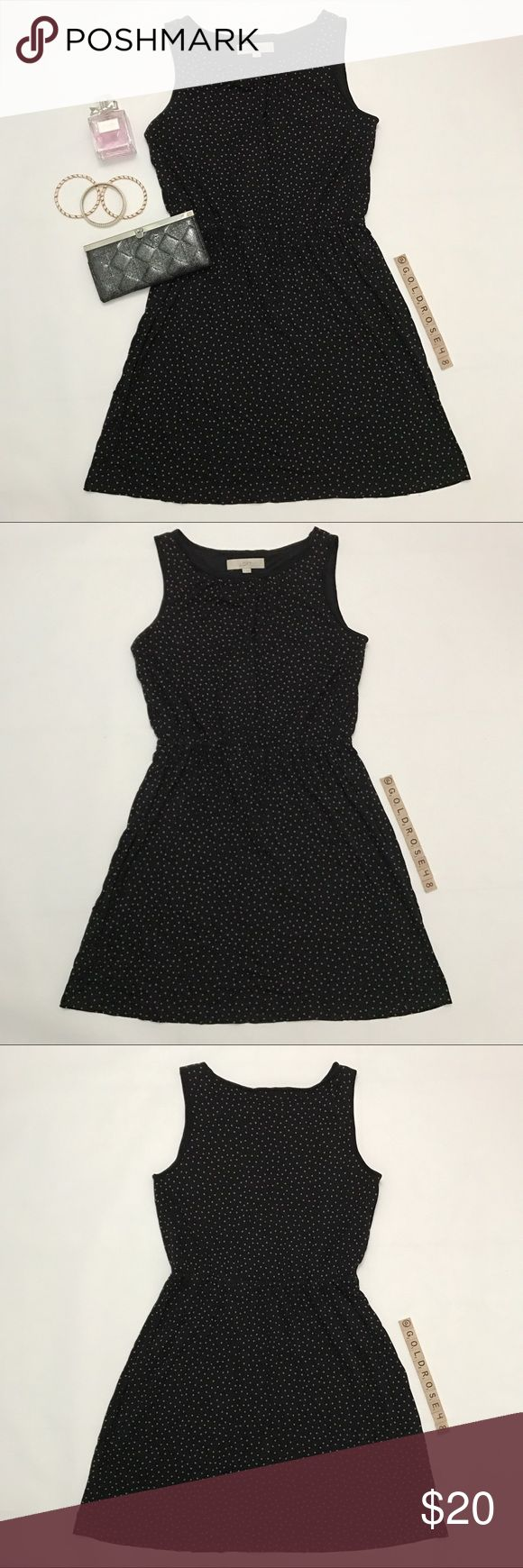 "Ann Taylor LOFT black polka dot dress Black dress with brownish polka dots, size M, overall length 33"", waist 13"" across unstretched, bust armpit to armpit 16"", inner lining only from the waist up. See pictures for material and washing instructions. Elastic waist. No zippers or pockets. Worn once so it's in excellent condition. No damage/fraying/stains. Has been cleaned and stored in a non-smoking/pet-free home. Purse, bracelets, perfume not included. No trades or offsite transactions. Make…"