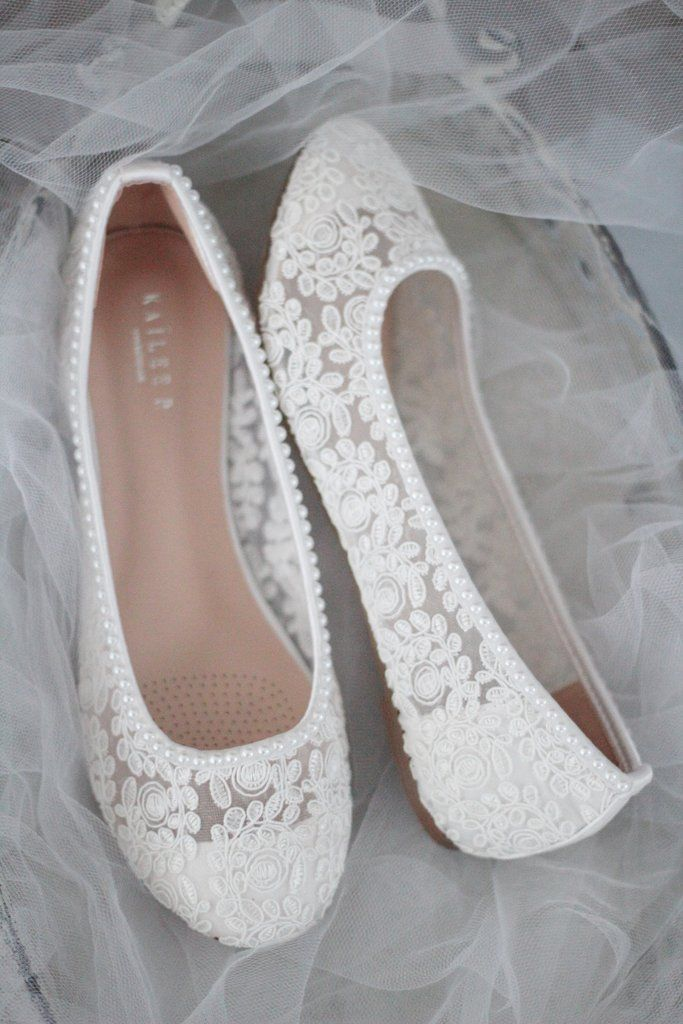White Crochet Lace Round Toe Flats With Mini Pearls In 2020