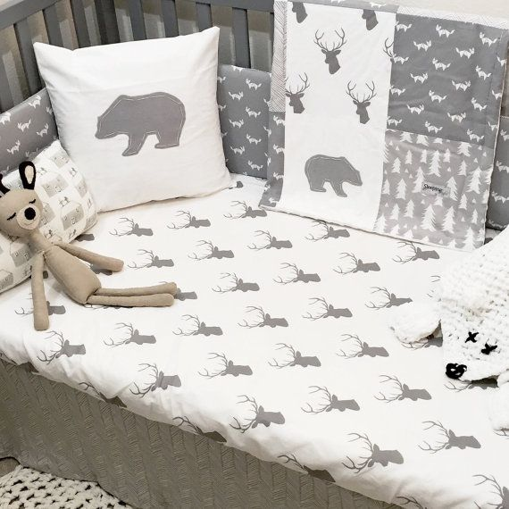 monochrome gray and white woodland nursery crib bedding set with bear deer fox trees and herringbone by on etsy