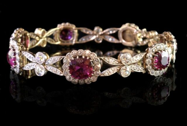 English Edwardian platinum and yellow gold bracelet with diamonds and rubies
