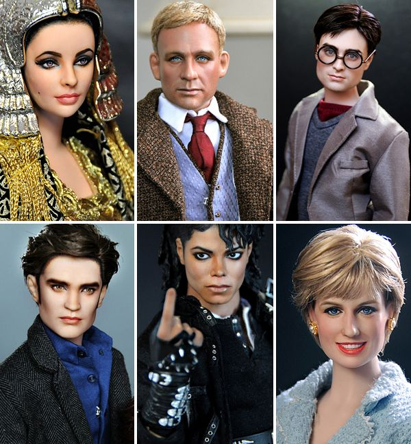 """Filipino artist Noel Cruz is a well known master in painting dolls. He takes ordinary Barbie dolls and with using his outstanding skills creates dolls strikingly similar to Hollywood actors and actress. In his collections you will easily find wonderful """"copies"""" of Angelina Jolie, Johnny Depp, Orlando Bloom, Robert Pattinson and many other celebrities."""