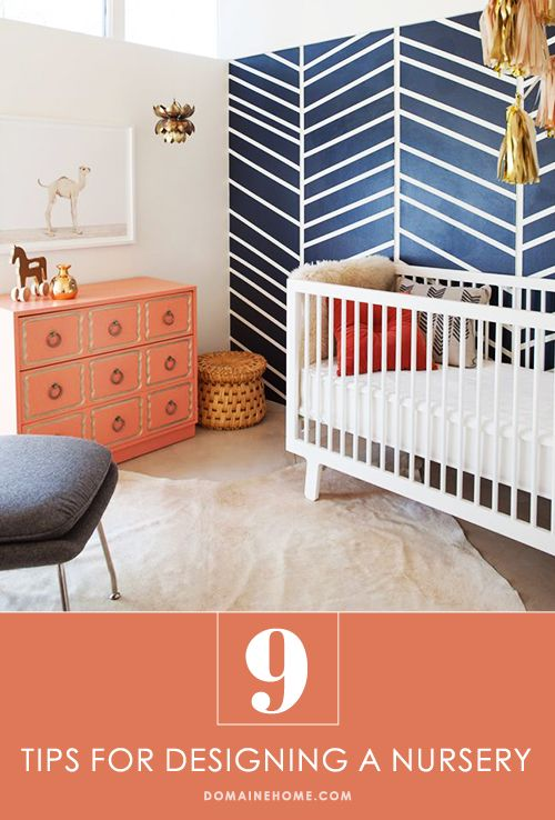 9 Tips for Designing a Stylish Nursery: Babby Kids Rooms, Colors Combos, Kids Room Design, Color Combos, Blue Wall, Kid Rooms, Chevron Wall, Coral Navy Colors, Accent Wall