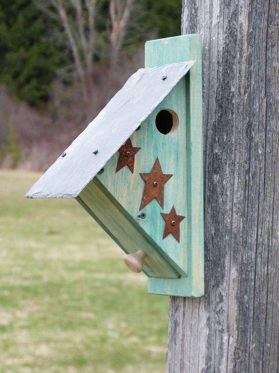 Nuthatch Birdhouse Nest Box Bird House Nestbox Rustic Functional Outdoor Wooden Country Yard Art Garden Art Nut Hatch