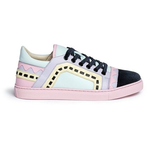 Sophia Webster 'Riko' geometric trim leather combo sneakers found on Polyvore featuring shoes, sneakers, colorful sneakers, leather footwear, multi color sneakers, colorful shoes and multi colored sneakers