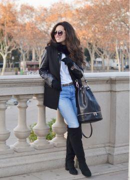 Cómo combinar botas altas negras en tu look. Look estilo 2015.