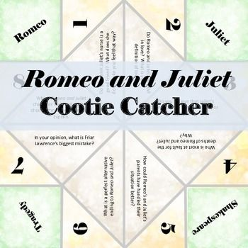 This cootie catcher has higher-order discussion questions for Shakespeare's Romeo and Juliet! $1.00