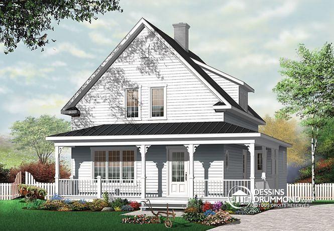 W3512 maison champ tre avec galerie couverte 3 grandes chambres foyer bu - Modele maison champetre ...