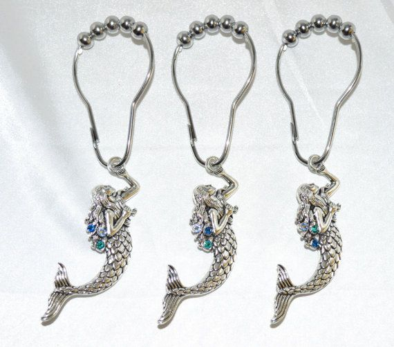 Mermaid Shower Curtain Hooks,Silver w/Swarovski Crystals,Color Choice Blue Aqua Purple+, Ocean Bath Decor,Set of 12, Nautical Beach Fantasy