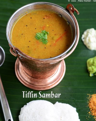 Tiffin sambar recipe - with toor dal - Idli sambar - perfect for all tiffin items! Its so flavorful and a lot more flavorful than hotel sambar!