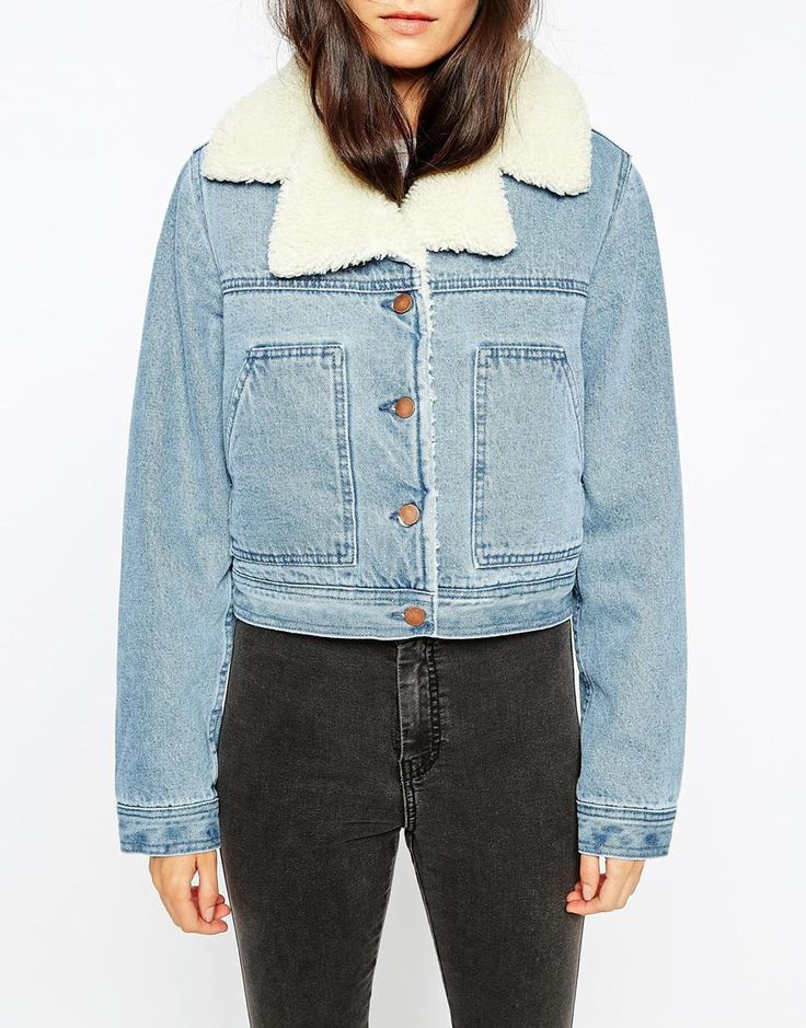 Image 3 of ASOS PETITE Denim Cropped Jacket In Mid Stone Wash With Borg Lining And Collar