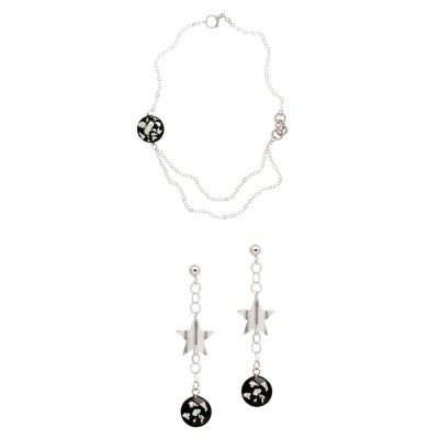 Matte & Polished 925 Silver and rhodium plated earrings and necklace set with black murano stone. Nickel Free.