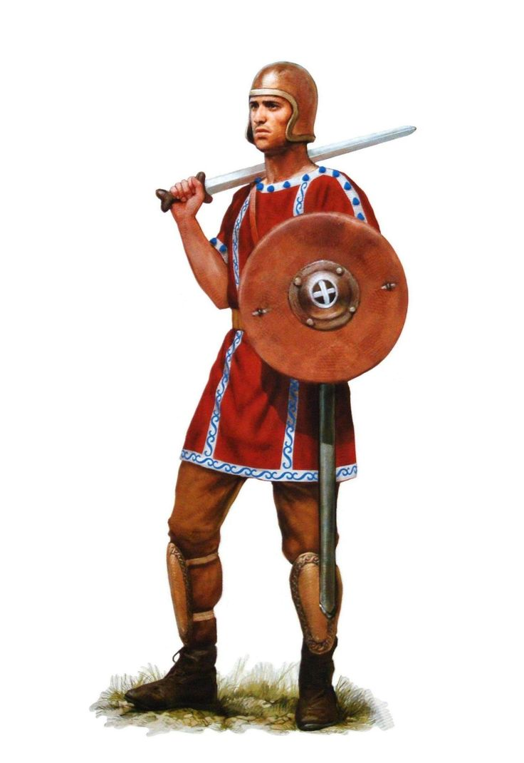 An Iberian Caetratii soldier with his typical Caetra shield, the origin of his unit's name, and light bronze armor. His sword is an Celtic iron La Tene sword, which the Iberian probably acquired through trade, or though plundering dead bodies after a battle.