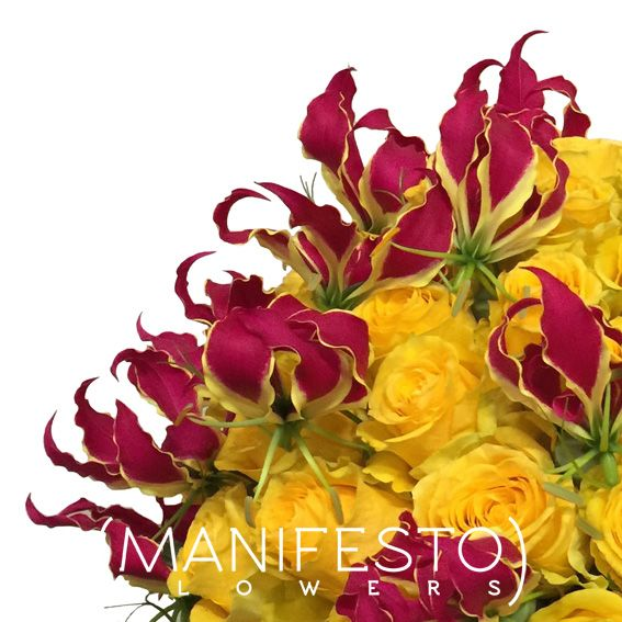 Yellow roses and gloriosa