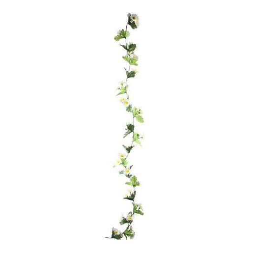 Guirlande de marguerites - Plastique et polyester - Longueur 150 cm - Blanc