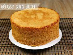 Génoise sans gluten de Féerie cake : – 4 œufs – 120 g de sucre – 70 g de farine de riz – 60 g de fécule de maïs A 180°C pendant 30min