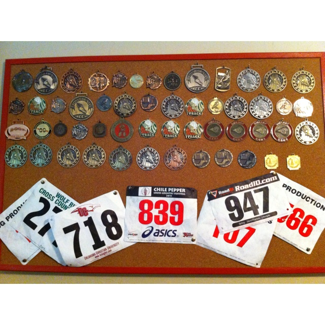 Cool display for track medals graduation pinterest for Cross country awards ideas