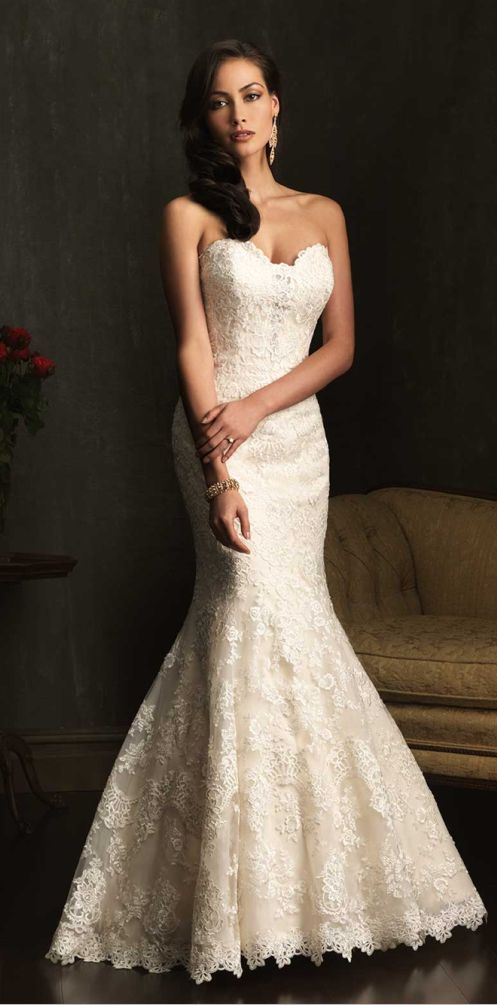 Allure Bridals (9072) -- lace mermaid w/ sweetheart neckline