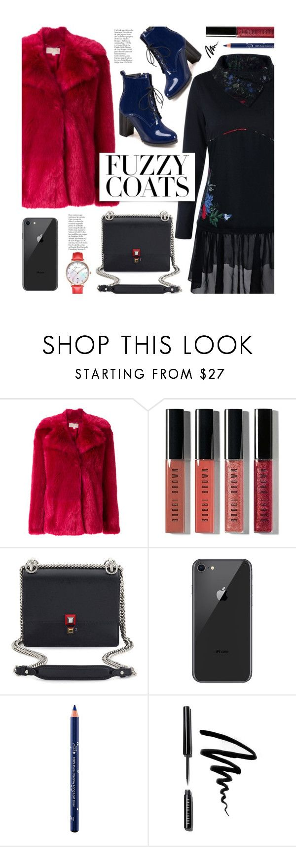 """Keep it Cozy: Fuzzy Coats"" by beebeely-look ❤ liked on Polyvore featuring MICHAEL Michael Kors, Bobbi Brown Cosmetics, Fendi, 100% Pure, StreetStyle, dresses, sammydress, fauxfur and fuzzycoats"