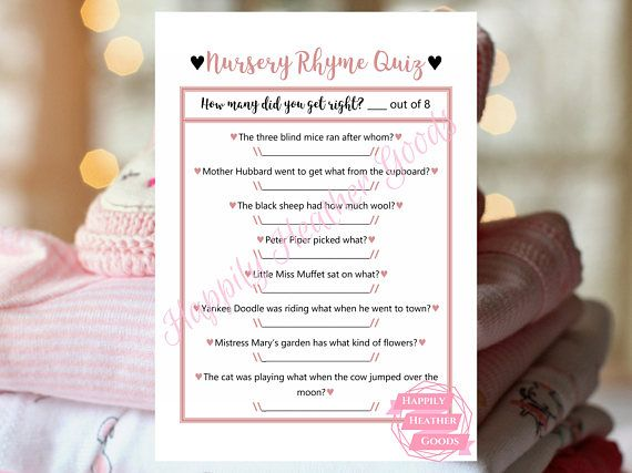 Have a blast with this game of nursery rhymes! This is a printable game for a baby shower in pink and black with a cursive font. Custom color options available upon request with an added fee. Reach out to me prior to purchasing and we can determine what fits your style and needs