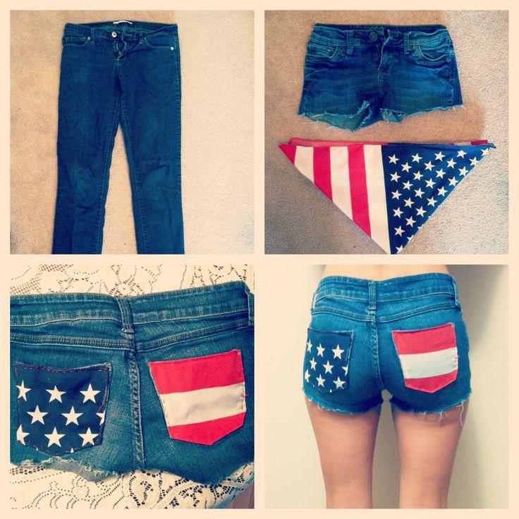 DIY american flag shorts for summer