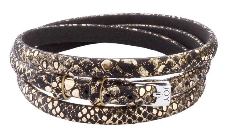 Joy de la Luz | Leather buckle bracelet black/gold