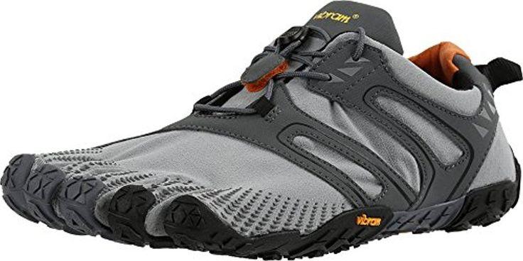 Vibram FiveFingers Men's V-Trail Barefoot Grey/BLK/Orange 48 & Toesock Bundle