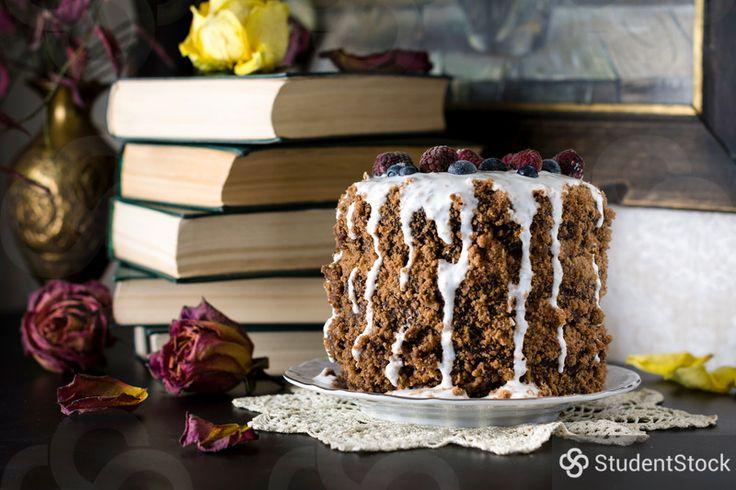 "StudentStock - ""Chocolate gingerbread cake with yogurt sauce and berries"" by Vladislav Nosick"