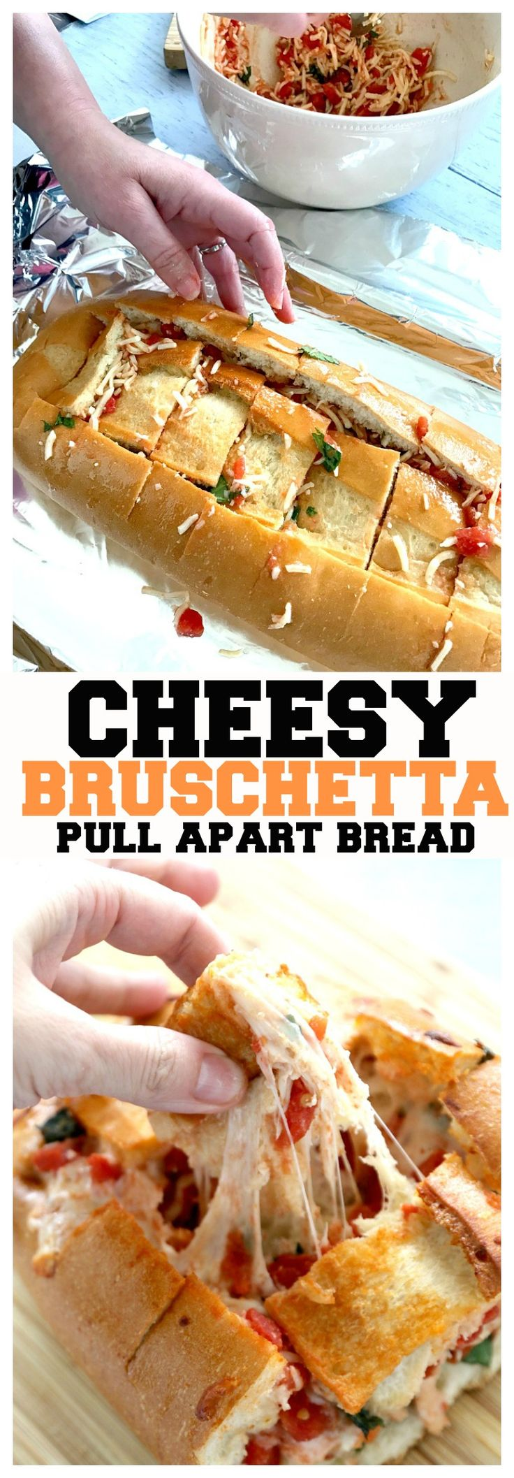 Cheesy Bruschetta Pull-Apart Bread recipe, this cheesy bruschetta is simple cutting a loaf of bread, stuffing with tomatoes, mozzarella cheese, and basil