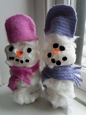 Cotton SnowmenCotton Ball, Bottle Snowman, Crafts Ideas, Winter Crafts, Cottonball Snowmen Girls, Snowman Crafts, Cotton Wool, Cotton Snowmen, Christmas Ornaments