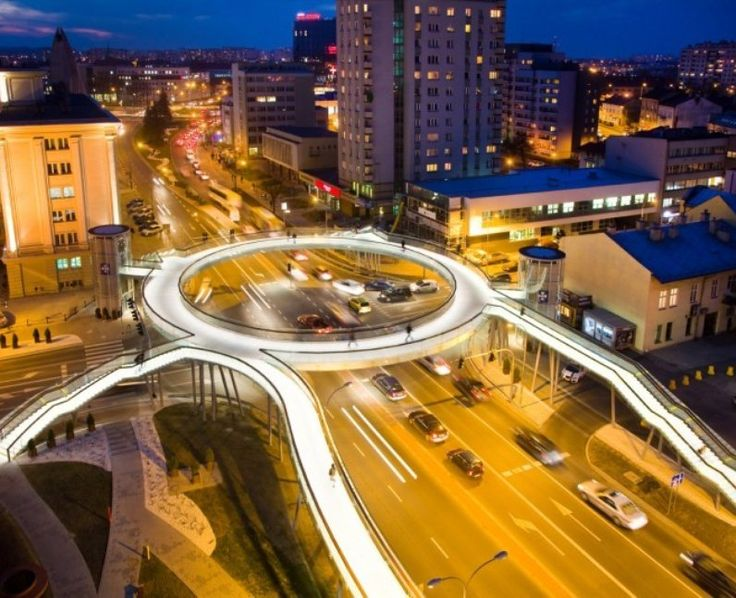 Illuminated Hovenring Bridge in Rzeszów, Poland