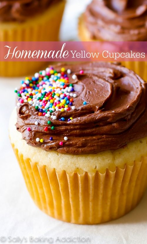 These super moist yellow cupcakes with milk chocolate frosting reign supreme in the dessert world. Soft, fluffy, and bursting with buttery flavor. Homemade tastes 1,000x better than a box!