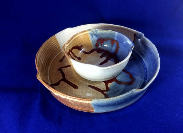 Stoneware chip and dip bowl, serving dish, ceramic chip and dip bowl, pottery chip and dip bowl, chip and dip serving bowl, fruit bowl by pickandspadepottery on Etsy