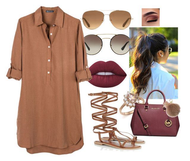 """""""Outtie"""" by kezia-x33 on Polyvore featuring Prada, Lime Crime, United by Blue, Lipsy, Stella & Dot, Bloomingdale's, MICHAEL Michael Kors and Michael Kors"""