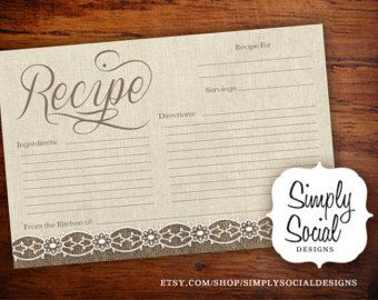 Burlap and Lace Bridal Shower Recipe Cards by ShowerThatBrideShop