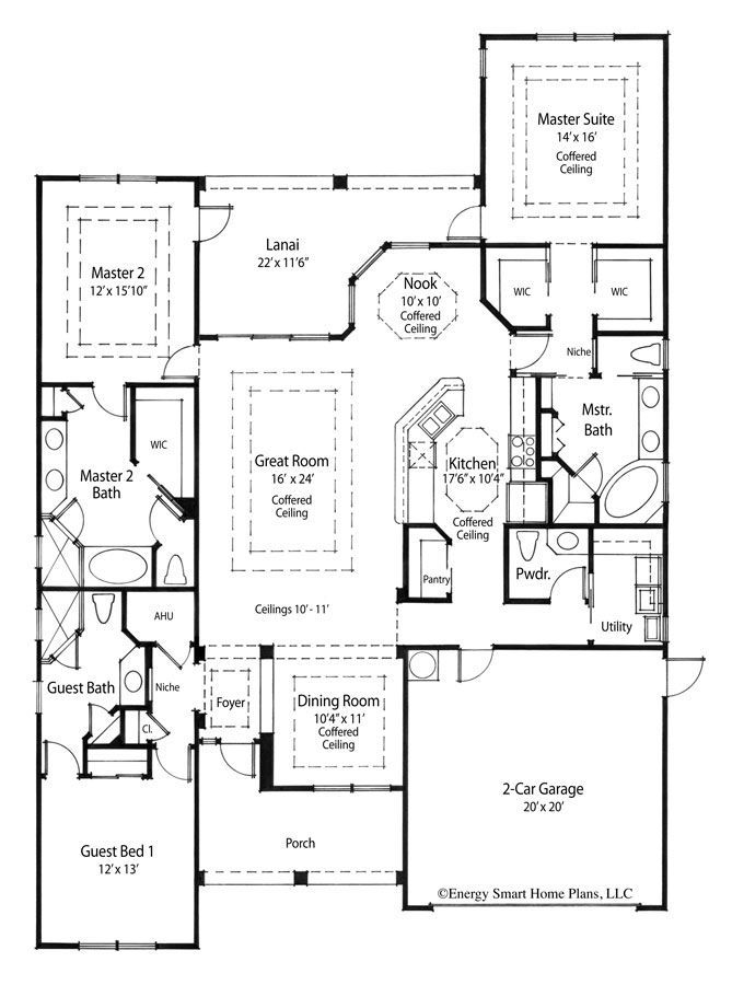 The Maximin House Plan Has Dual Master Suites With Luxurious Baths And The Ultimate In Privacy Open House Plans Master Suite Floor Plan House Plans One Story