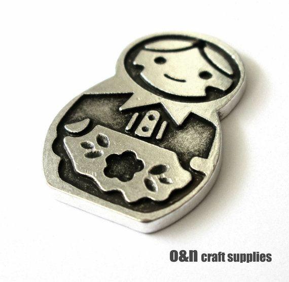Matrioshka engraved charm / pendant antique finsh charm / by OandN, $1.70 #pendant #jewelrysupplies