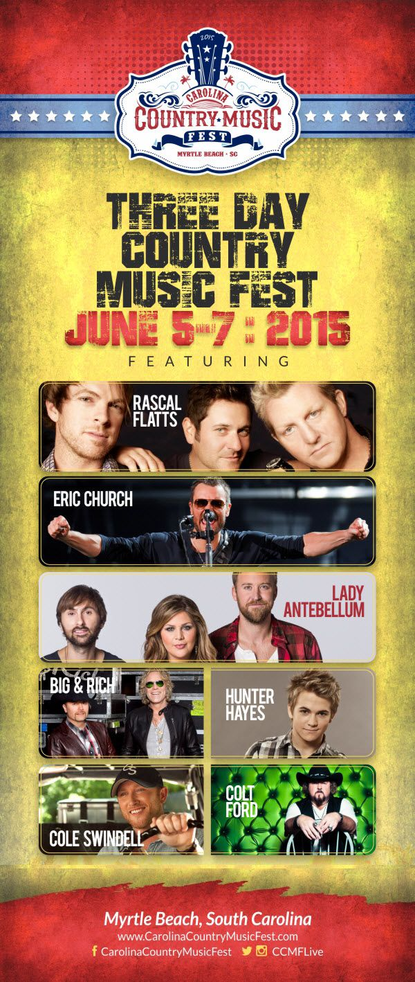 Grab a cowboy hat and a pair of flip-flops and head to Myrtle Beach, SC for one of the biggest country music festivals! Carolina Country Music Festival (CCMF) will host 35 of the industry's biggest stars, including national recording artists: Eric Church, Lady Antebellum, Big & Rich and Hunter Hayes. Get your tickets and score a hotel deal before everything is sold out!