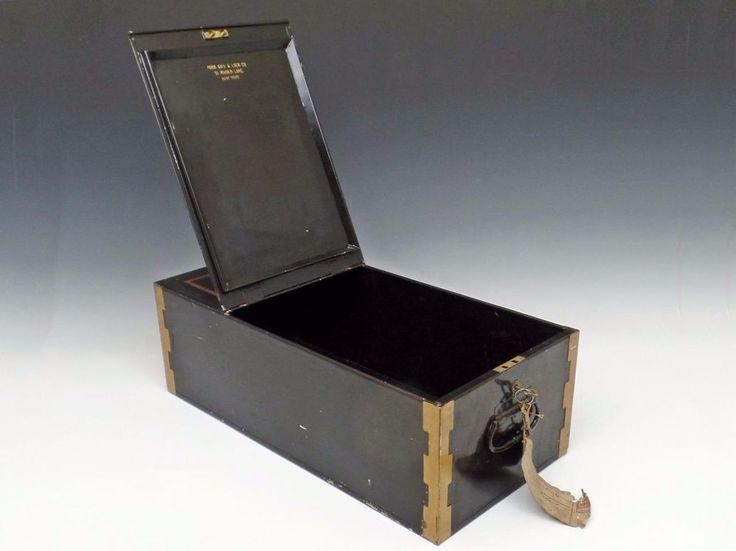 Vintage York Safe & Lock LARGE Bank Safe Deposit Box W/ 2 Keys