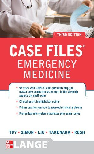 Case Files Emergency Medicine, Third Edition (LANGE Case Files):   Real life cases for the emergency medicine clerkship and shelf-exam/b/p You need exposure to high-yield cases to excel on the emergency medicine clerkship and the shelf-exam. Case Files: Emergency Medicine/i presents 50 real-life cases that illustrate essential concepts in emergency medicine. Each case includes a complete discussion, clinical pearls, references, definitions of key terms, and USMLE-style review questions...